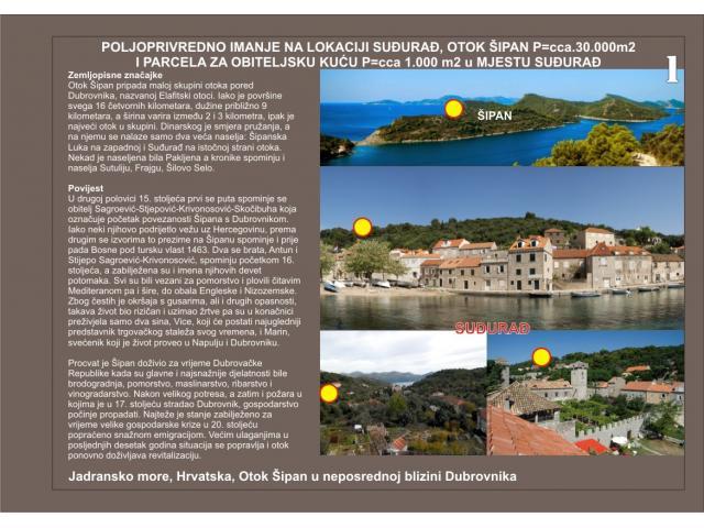 OTOK ŠIPAN - Prodaje se poljoprivredno imanje 30.000 m2 i građevinska parcela 1.000 m2